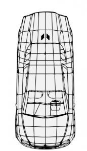 Yerel T1 elektrikli araç üstten görünüşü çizim