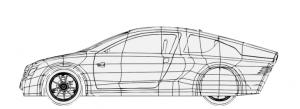 Yerel T1 elektrikli araç yandan görünüşü çizim