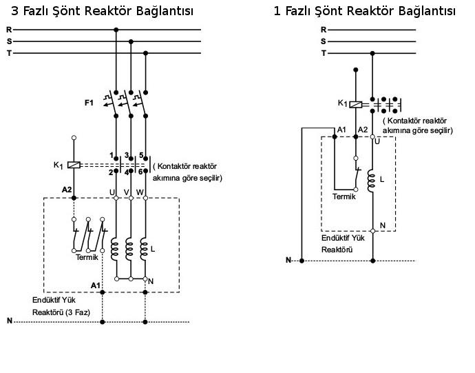 1 ve 3 fazlı reaktör bağlantısı